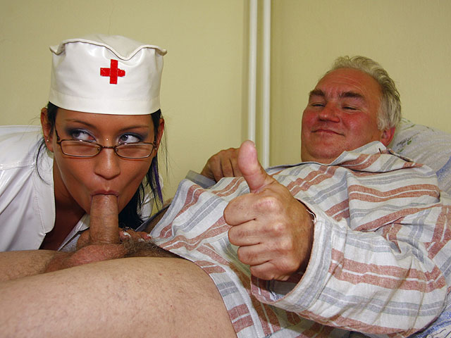 Grandpapa is have sexual intercourse by hot nurse.